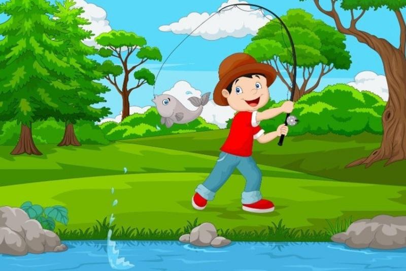 Illustration-des-kleinen-Jungen-der-auf-dem-See-fischt-1