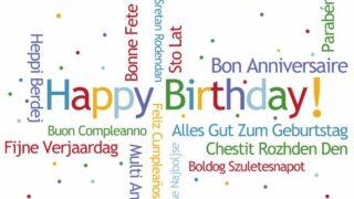 Alles Gute zum Geburtstag in vielen verschiedenen Sprachen