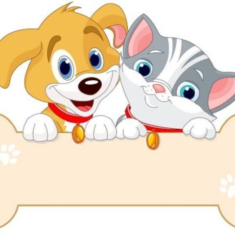 Katze und Hund halten Zeichen