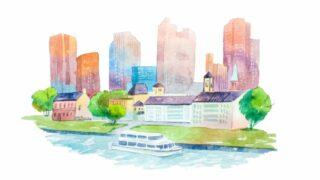 Aquaraellzeichnung Stadtbild mit Häusern
