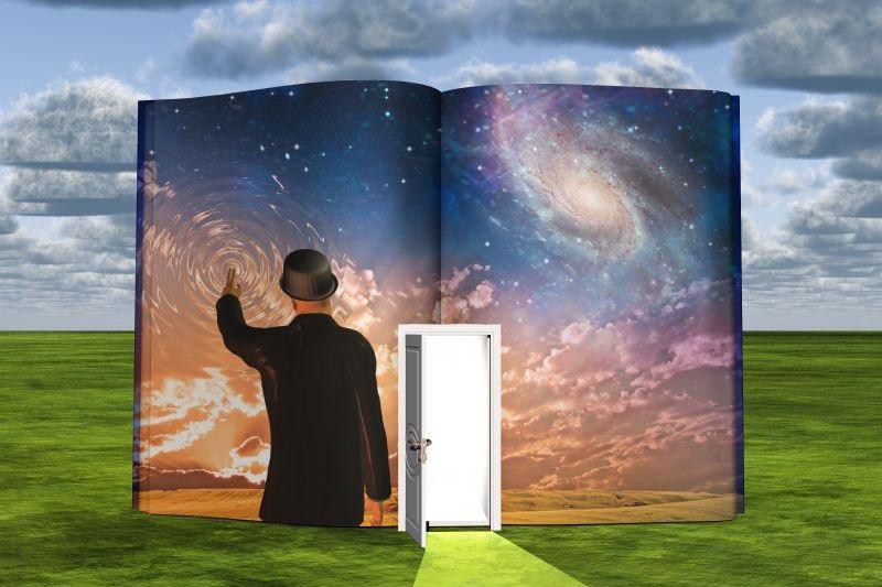 Buch-mit-Science-Fiction-Szene-und-offener-Lichttur