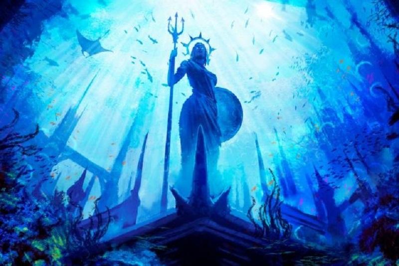 Eine-Statue-der-griechischen-Gottin-mit-einem-Schild-und-einem-Dreizack-steht-in-einer-von-Fischen-und-Korallen-umgebenen-Unterwasserstadt