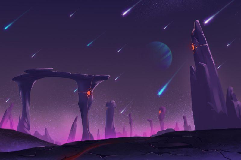 Fantastische-und-exotische-Umgebung-von-Allen-Planet-Meteorschauer-bei-Nacht