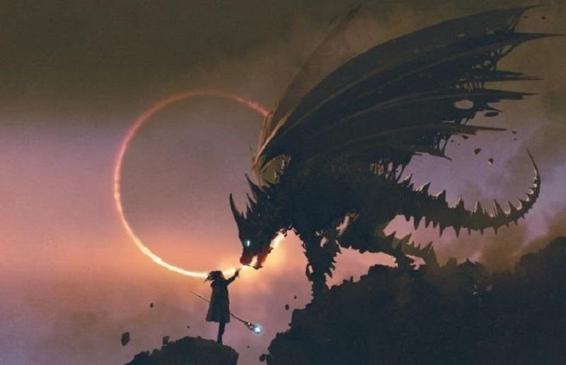 Szene-in-der-der-Zauberer-seinem-Drachen-auf-dem-Felsen-die-Hand-reicht