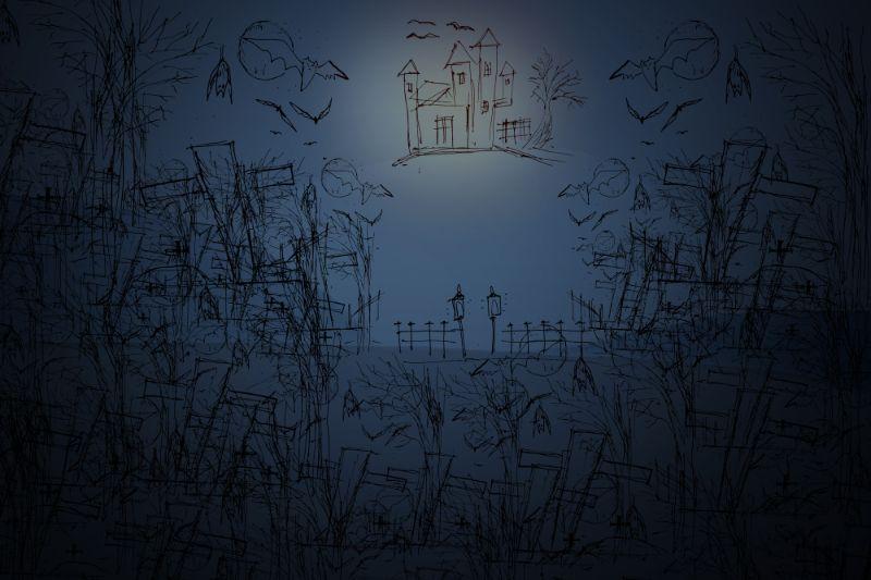 Unheimlicher-Friedhof-und-Bauernhaus-im-Wald