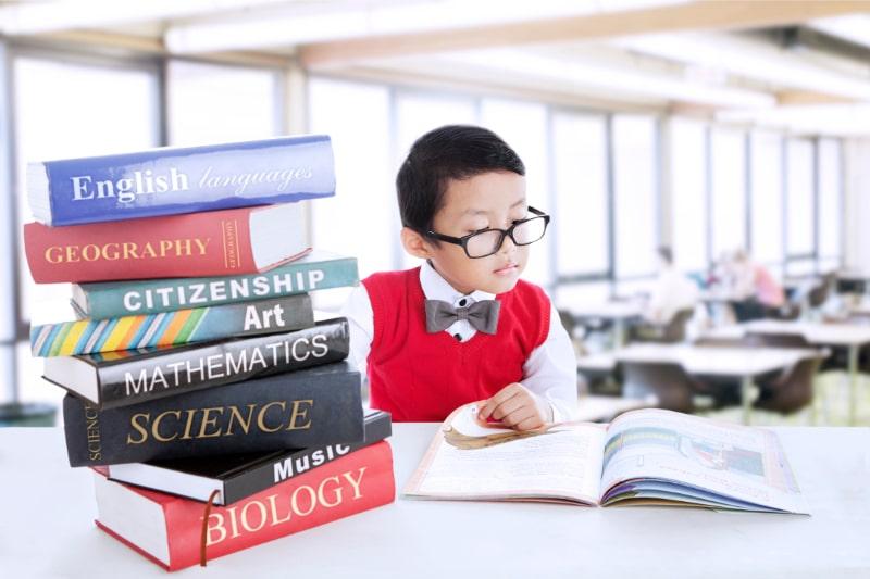 Junge-studiert-Literaturbucher-in-der-Bibliothek