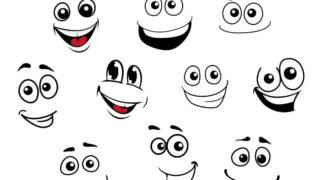 Lustige Karikatur emotionale Gesichter eingestellt