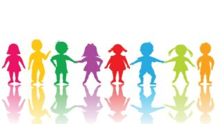 Gruppe Kinder in farbe