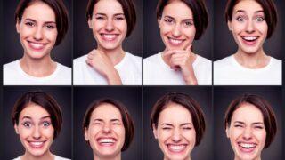 Satz attraktive glückliche Frau, lachend